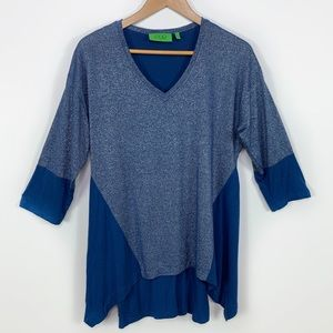 LOGO Blue Shimmer Stretch Oversized Tunic Top